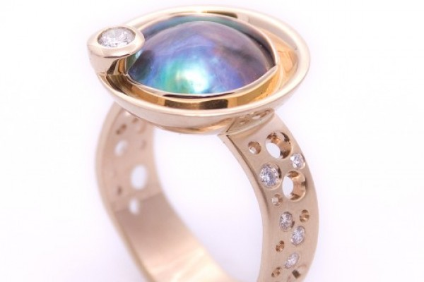 Pacific Blue Pearl and Diamond ring